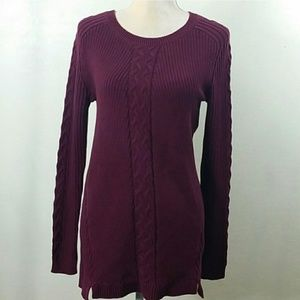 Nautica Red Cable Knit Tunic Sweater